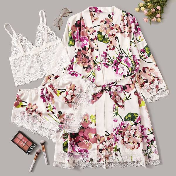 Floral Lace Bralette With Satin Shorts & Belted Robe, Multicolor