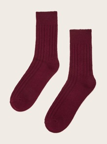 1pair Simple Solid Socks