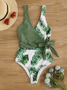 Tropical Tie Waist One Piece Swimwear