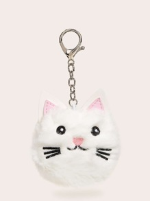 Embroidered Detail Cat Design Bag Charm