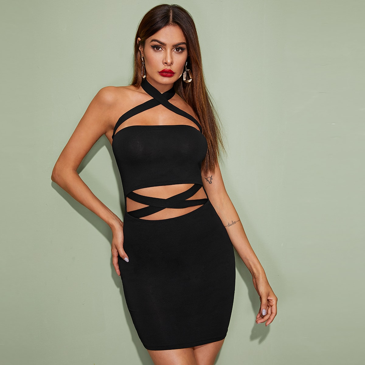 Solid Crisscross Front Bodycon Halter Dress, SHEIN  - buy with discount