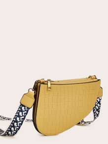 Croc Embossed Crossbody Bag With Wide Strap
