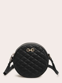 Round Shaped Quilted Crossbody Bag