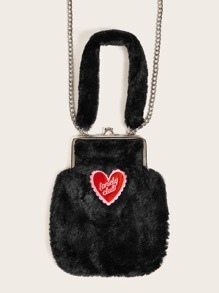 Embroidered Heart Decor Fluffy Satchel Bag