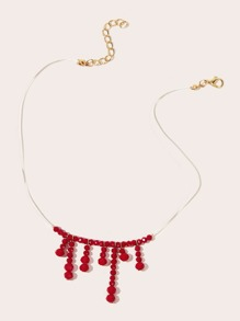 Crystal Bead Tassel Decor Necklace