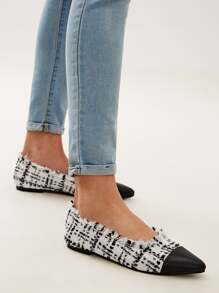 Tweed Raw Hem Cap Point Toe Flats