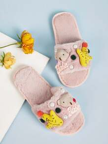 Open Toe Cartoon Decor Fluffy Slippers