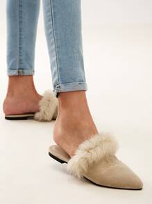 Faux Fur Trim Mule Loafers