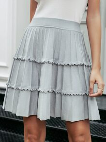 Simplee Lettuce Trim Pleated Skirt