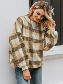 Simplee Gingham Drop Shoulder Teddy Pullover