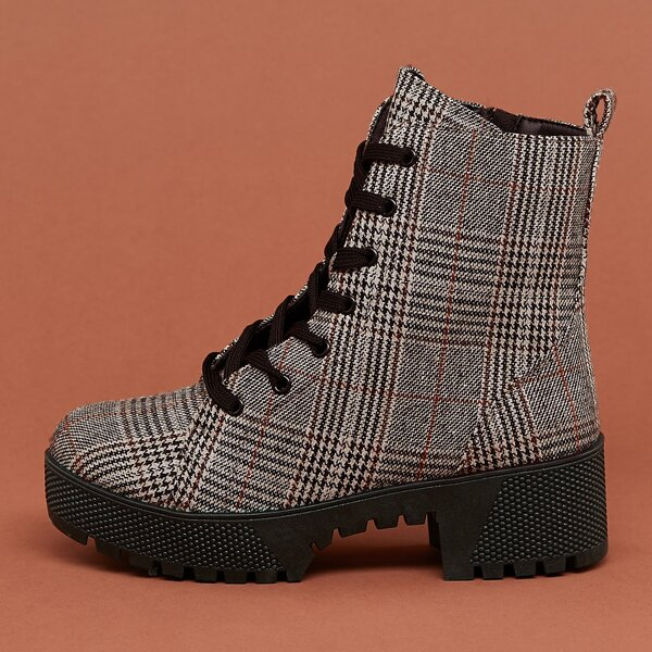 Lace Front Platform Lug Sole Plaid Combat Boots, Multicolor