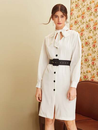 Tie Neck Belted Midi Shirt Dress