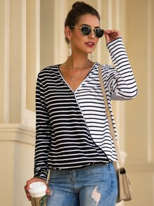 V-neck Two Tone Stripe Tee