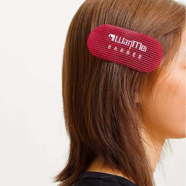 2pcs Letter Graphic Bangs Paste, Red