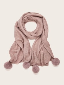 Pom Pom Decor Solid Scarf