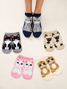 5pairs Cartoon Cat Graphic Ankle Socks
