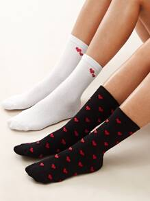 2pairs Heart Graphic Socks