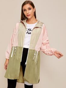 Two Tone Drawstring Waist Windbreaker Jacket