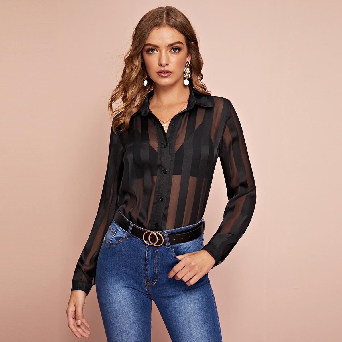 Однотонная прозрачная атласная блуза с пуговицами