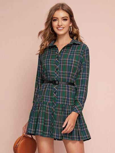Tartan Print Button Through Belted Shirt Dress