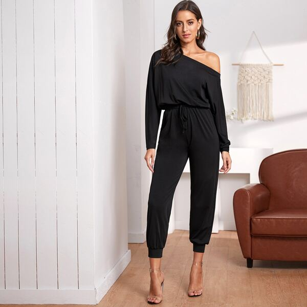 Oblique Shoulder Drawstring Waist Jumpsuit, Black