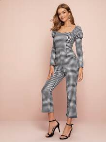 Gingham Square Neck Puff Sleeve Jumpsuit