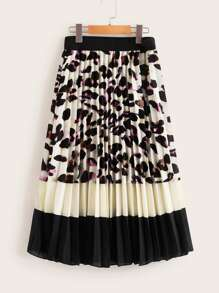 Color-Block Elastic Waist Pleated Skirt