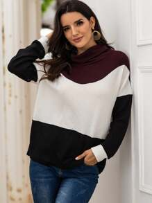 Mock Neck Color-Block Long Sleeve Sweater