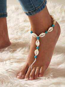 1pc Shell & Bead Decor Toe Ring Anklet
