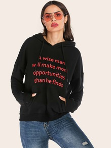 Slogan Graphic Drawstring Hooded Sweatshirt