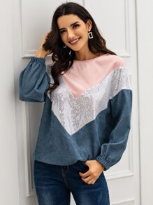 Contrast Sequin Color-Block Corduroy Sweatshirt