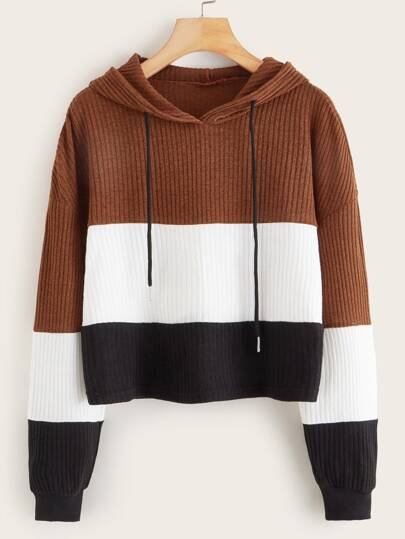 Cut And Sew Panel Ribbed Drawstring Hoodie