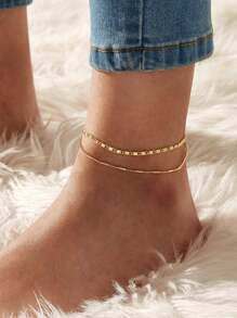 Textured Mismatched Anklet 1pc