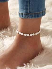 Faux Pearl Beaded Anklet 1pc