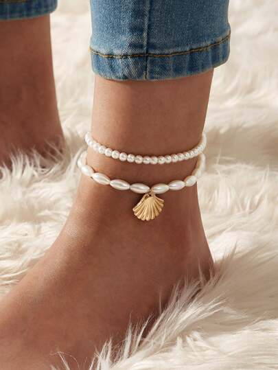 Shell Charm Beaded Anklet 2pcs
