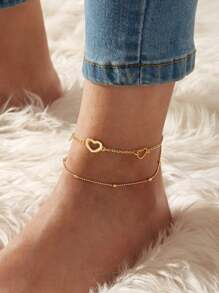 Heart Decor Layered Anklet 1pc