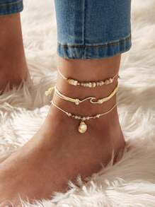 Shell & Faux Pearl Decor String Anklet 3pcs