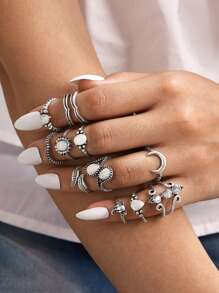 12pcs Moon & Rhinestone Decor Ring