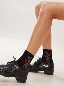 Flower Pattern Socks 1pair