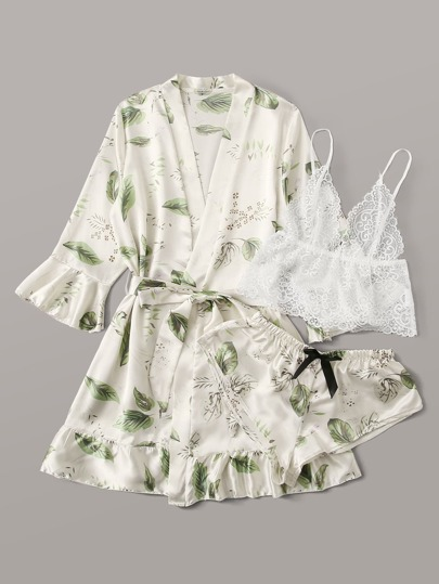 Floral Lace Sheer Lingerie Set With Tropical Satin Robe & Belt