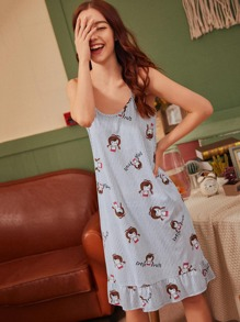Cartoon Print Striped Cami Dress With Eye Mask