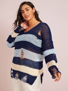 Plus Colorblock Ripped Split Side Sweater
