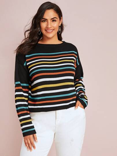 Plus Colorful Striped Drop Shoulder Sweater