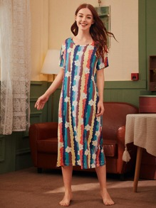 Bear Print Multi-color Striped Night Dress