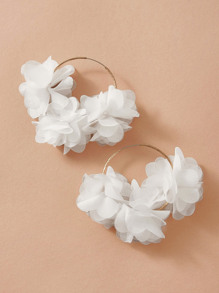 1pair Mesh Flower Drop Earrings