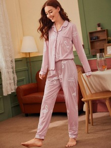 Flamingo Print Button Front Pajama Set