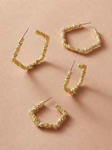 2pairs Textured Polygon Hoop Earrings