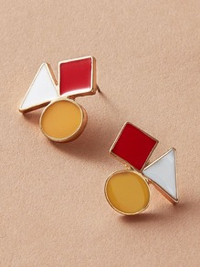 1pair Color Block Geometric Stud Earrings