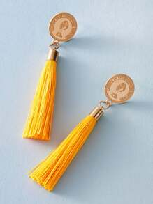 1pair Coin Decor Tassel Drop Earrings