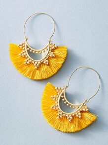 1pair Bead Decor Fan Tassel Drop Earrings